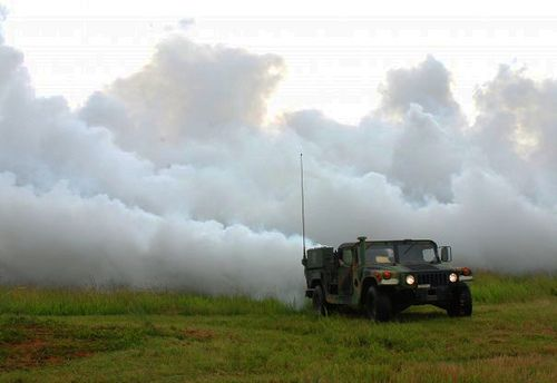 Hexachloroethane used to create smoke screen behind Humvee.